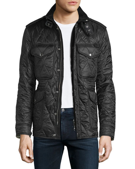 Garrington Quilted Zip-Up Jacket, Black