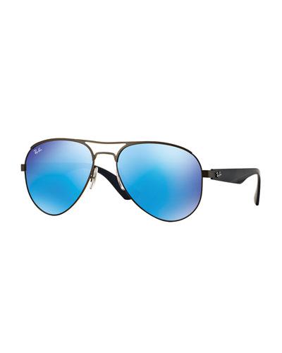 Metal Aviator Sunglasses with Mirror Lenses