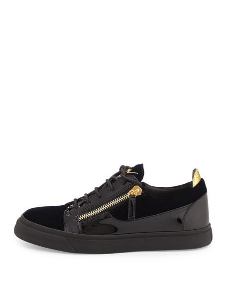 Men's Velvet & Patent Leather Low-Top Sneaker, Navy
