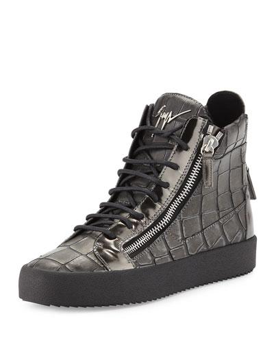 Men's Crocodile-Embossed Leather High-Top Sneaker, Pewter
