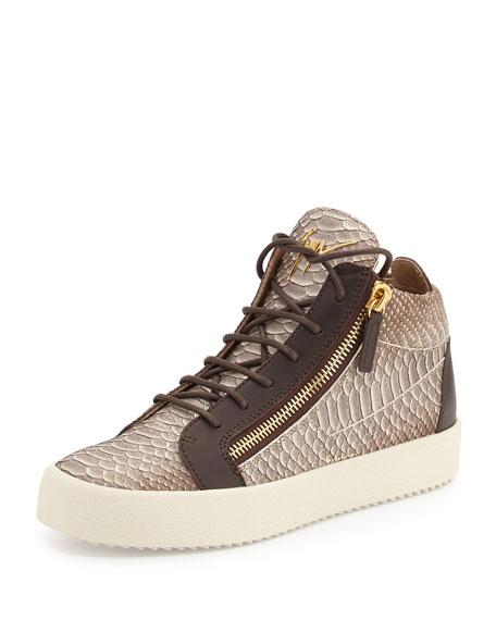 50c50dea38aaf Giuseppe Zanotti Men's Snake-Embossed Leather Mid-Top Sneaker, Light Brown