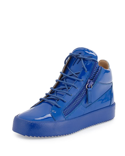 Men's Patent Leather Mid-Top Sneaker, Blue