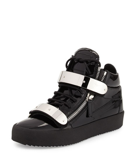 Giuseppe Zanotti Men's Double-Strap Patent Leather Mid-Top