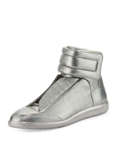 Future Metallic Leather High-Top Sneaker, Pewter