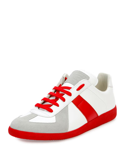 Replica Colorblock Low-Top Sneaker, White/Red