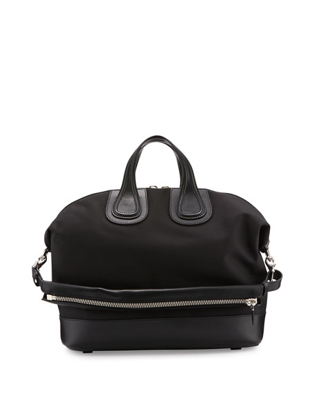 Nightingale Canvas & Leather Satchel Bag, Black