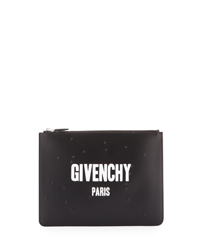 Distressed Leather Logo Pouch, Black