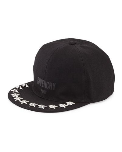 Star-Studded Flat-Bill Hat, Black