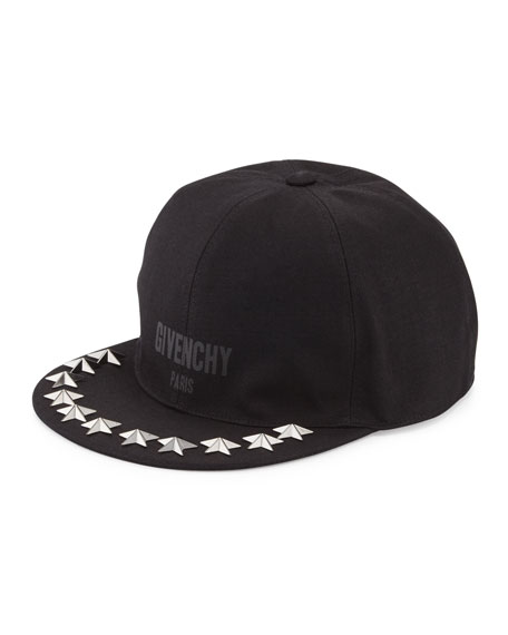 Star-Studded Flat-Bill Hat, Black