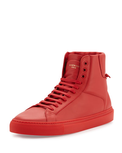 Leather High-Top Sneaker, Red