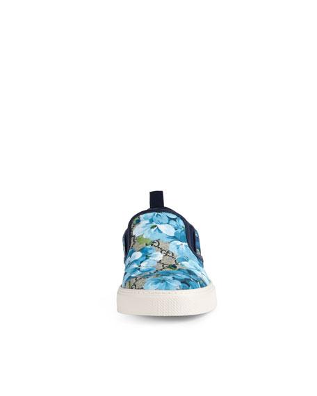 Dublin GG Blooms Canvas Slip-On Sneaker, Blue/Beige