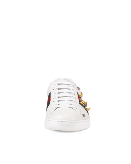 68d456ccaa3 Gucci New Ace Studded Leather Low-Top Sneaker