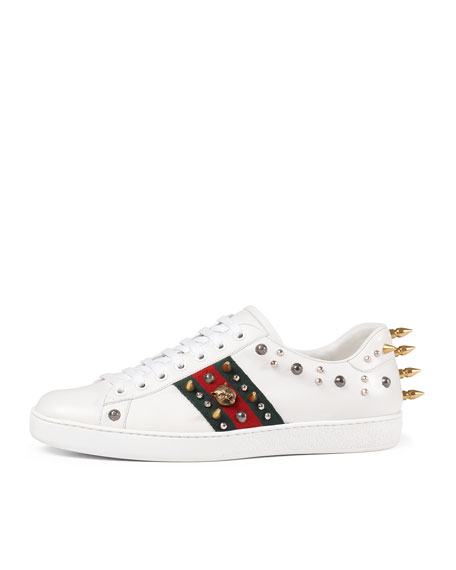 Ace studded low-top sneakers - White Gucci 14g6B