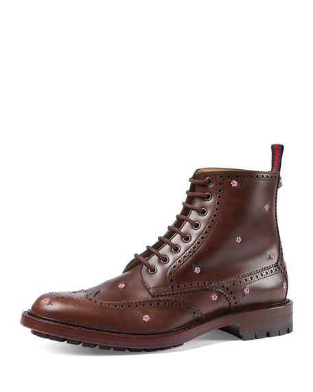 Flower-Embroidered Lace-Up Boot, Brown