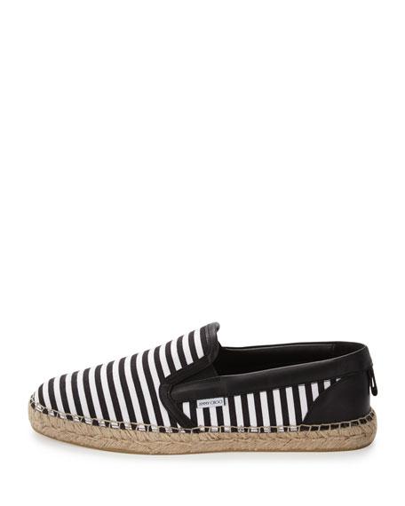Vlad Men's Striped Espadrille Slip-On Sneaker, Black/White