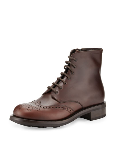 Gradient Leather Wing-Tip Lace-Up Boot, Brown