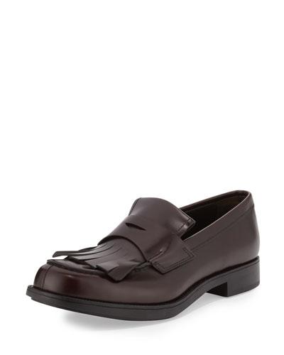 Kiltie Leather Penny Loafer W/Fringe, Brown