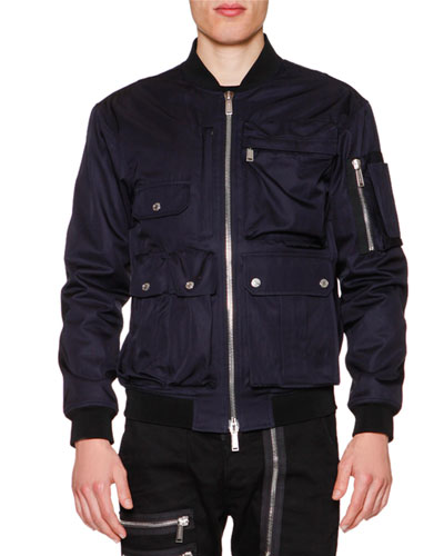 Utility Zip-Up Bomber Jacket, Navy Blue