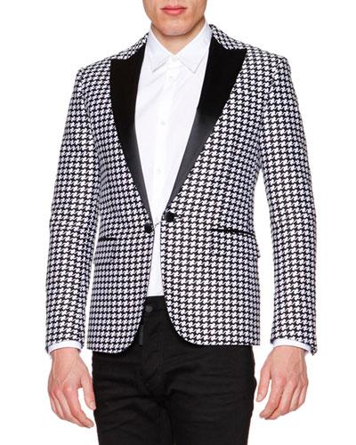 Satin-Lapel Houndstooth Evening Jacket, Black/White