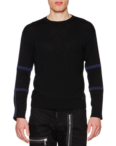 Tape-Trim Long-Sleeve Wool Sweater, Black/Blue