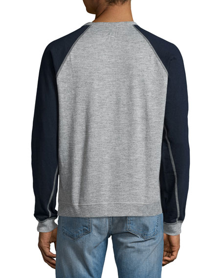 Standard Issue Colorblock Raglan-Sleeve Baseball Shirt, Gray