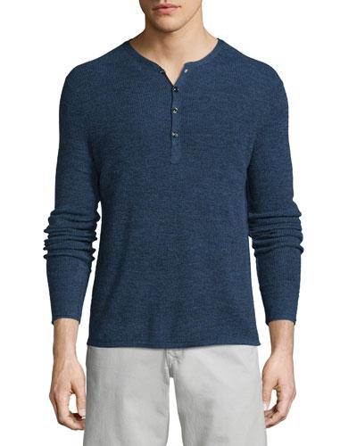 Garrett Long-Sleeve Henley Shirt, Navy