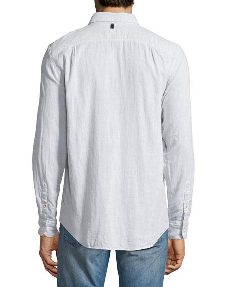 d9a74921df Rag & Bone Beach Fine-Striped Sport Shirt, Ivory/Black