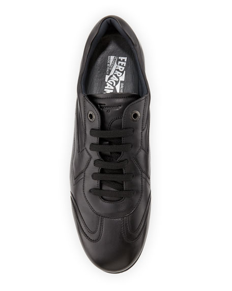 Men's Leather Lace-Up Sneakers, Nero