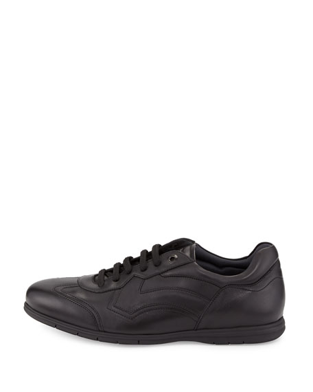 Leather Lace-Up Sneaker, Nero