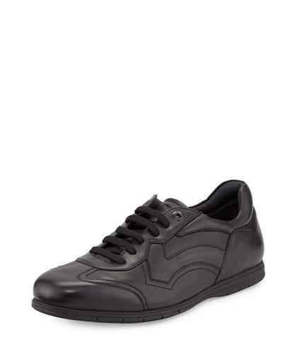 Leggero Leather Lace-Up Sneaker, Nero