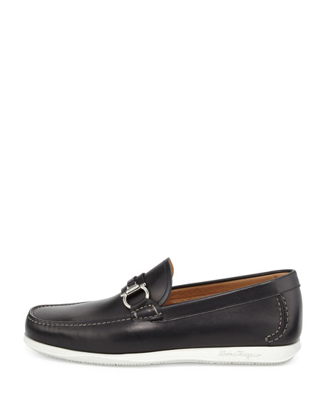 Calfskin Side Gancio Loafer on Rubber Sole, Black