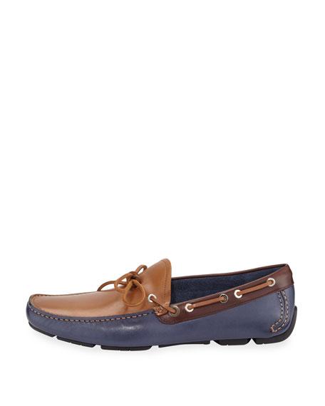 Tricolor Calfskin Boat Shoe Driver, Blue Marine/Tan/Brown
