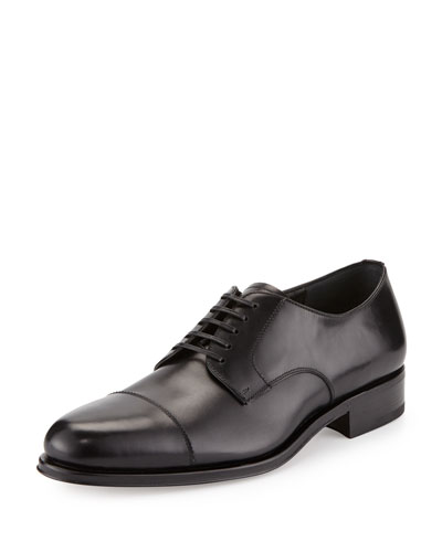 Luce Calfskin Cap-Toe Oxford, Black
