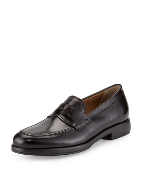 Calfskin Penny Loafer on Rubber Sole, Black