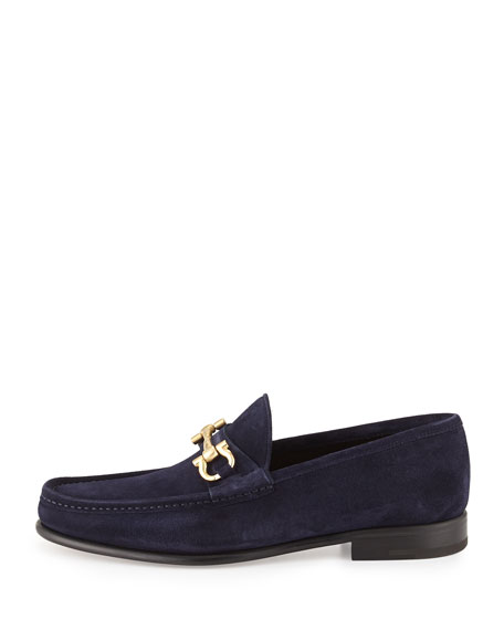 Suede Gancini Loafer, Blue