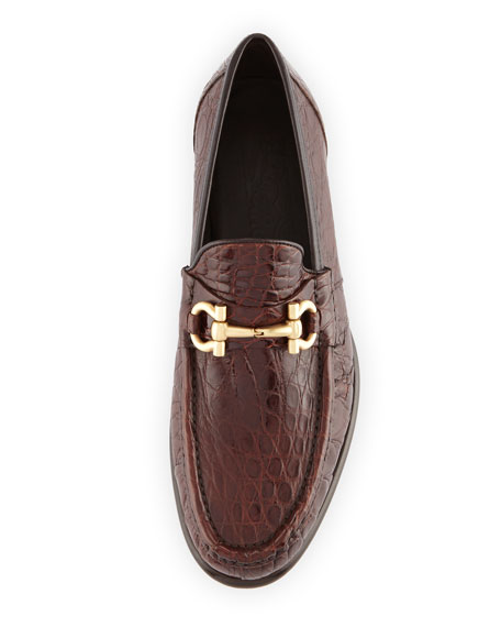 Crocodile Gancini Loafer, Almond