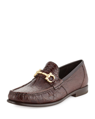 Mason 2 Crocodile Gancini Loafer, Almond