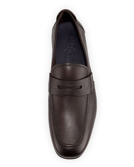Textured Calfskin Penny Driver, Dark Brown