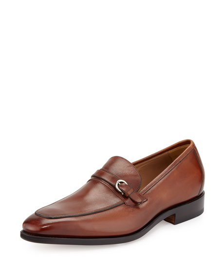 Tramezza Burnished Calfskin Loafer with Side Ornament, Tan