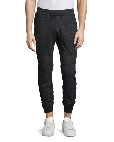 Stratham Mixed-Media Jogger Pants, Black