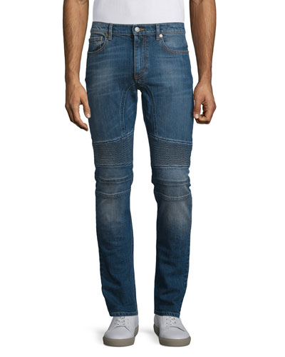 Eastham Slim-Fit Washed Denim Jeans, Mid Blue
