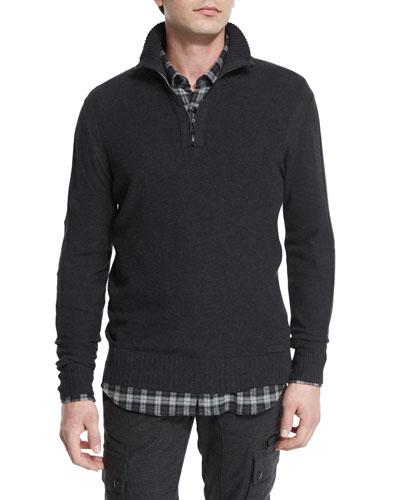 Halston Melange Half-Zip Pullover Sweater, Charcoal