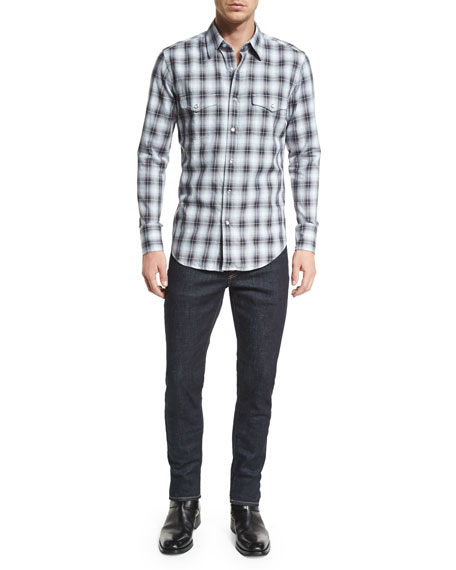 Western-Style Washed Check Sport Shirt, Black