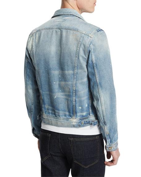 TOM FORD Western-Style Light-Wash Painted Denim Jacket