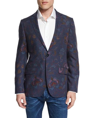 Paisley-Print Wool Blazer, Blue Multi