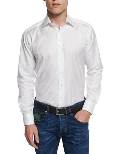 Tonal Houndstooth-Print Jacquard Sport Shirt, White