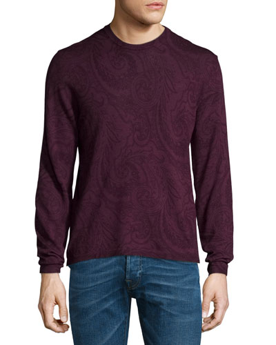 Tonal Paisley-Print Long-Sleeve Sweater, Burgundy