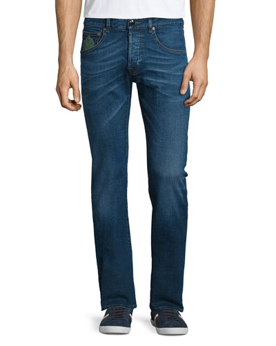 Five-Pocket Slim-Fit Denim Jeans, Medium Blue