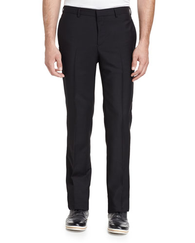 Chain-Trim Flat-Front Trousers