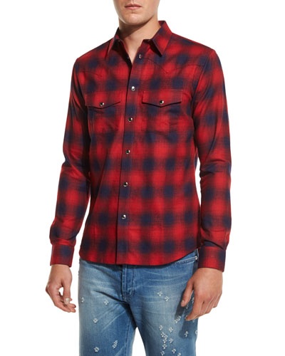 Plaid Western Shirt, Red/Navy